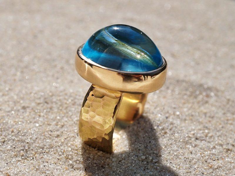 Goldring Topas blau Farbstein