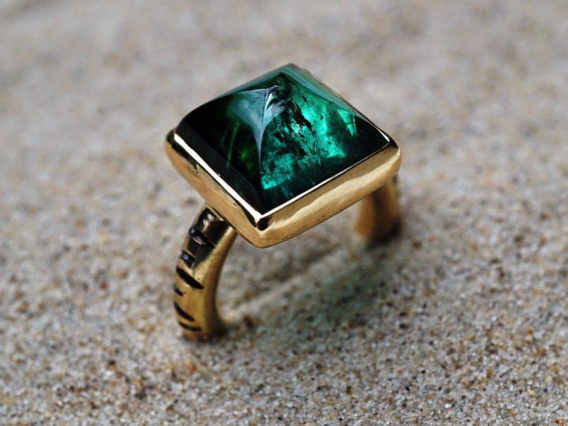 Goldring Turmalin grün Farbstein