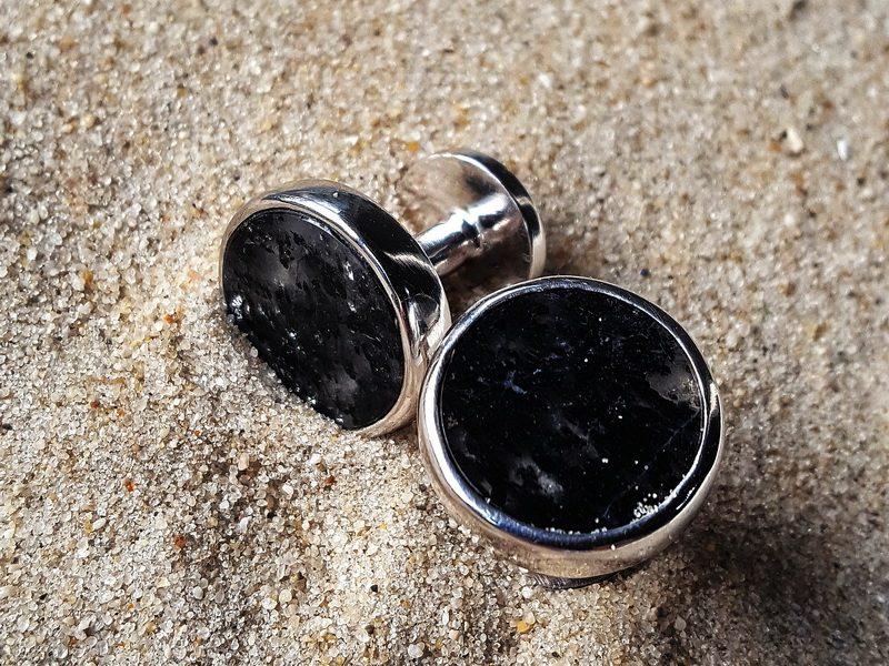 Manschettenknöpfe silber schwarz Turmalinquarz